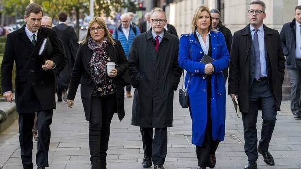Senators Mark Daly, Frances Black, Frank Feighan , Rose Conway-Walsh, and Niall Ó Donnghaile at the High Court in Belfast